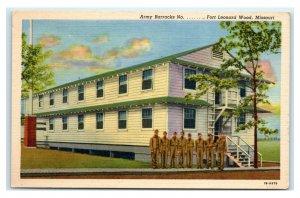 Postcard Army Barracks, Fort Leonard Wood MO Missouri I49
