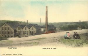 Vintage Postcard Charleroi Verrarie Da la Roue Belgium Hand Colored