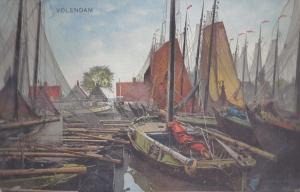Netherlands Holland Volendam Fishing Sail Boats Nenke Ostermier 1932 Postcard