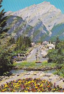 Canada Banff Avenue and Cascade Mountain Banff National Park Alberta