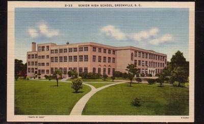 South Carolina colour PC Senior High Scholl, Greenville, unused