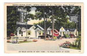 Myrtle Beach SC Smiths Motor Court Motel Cars US 17 Vintage 1949 Postard