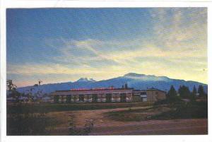Columbia Motor Inn at sunset, Revelstoke, British Columbia, Canada, 40-60s