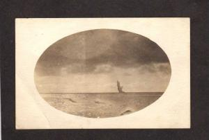 Military Naval Exploding Submarine Mine Navy Real Photo RPPC Censored Postcard