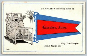 Larrabee IA~Wondering Why You Don't Wake Up~Alarm Clock~Fat Yawn~c1913 Pennant