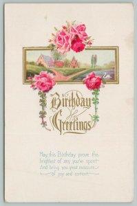 Flowers Greetings~Bright Pink Roses~Village~Clovers~c1910 Postcard