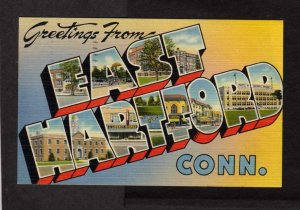 CT Greetings From East Hartford Connecticut Conn Postcard Lg Large Letter