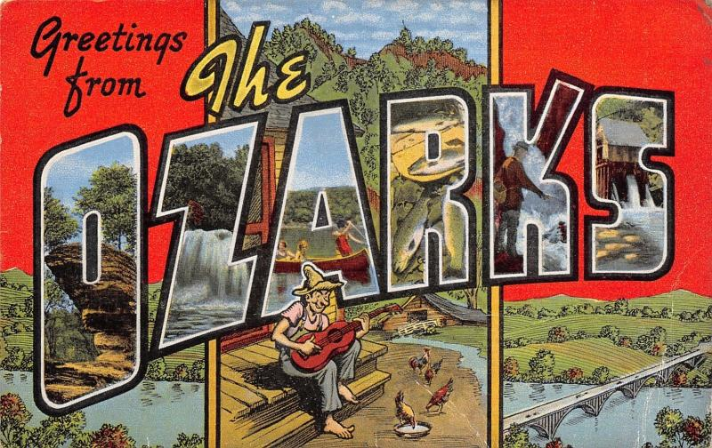 The Ozarks~Comic Large Letter Linen Postcard~Hillbilly Porch Plays Guitar~Fish