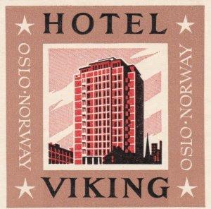 Norway Oslo Hotel Viking Vintage Luggage Label sk3797