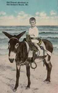 OLD ORCHARD BEACH , Maine , 1900-10s ; Boy on Abraham the donkey