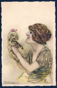 Lady with her Dog A/S Mauzan unused c1920's