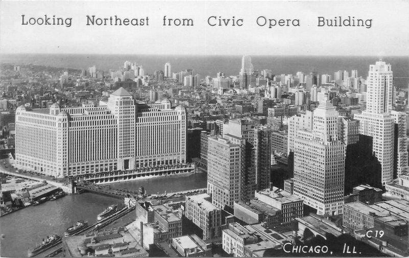 Aerial Chicago Illinois Civic Opera Building RPPC Postcard Groganized 20-2618