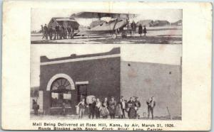 Rose Hill, KS Postcard Mail Being Delivered by Air Post Office / Airplane 1939