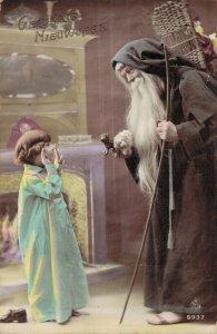 Christmas - Santa Claus Black Suit Girl Stick Broom 04.34