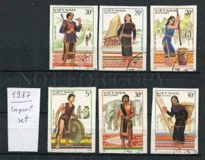 265093 VIETNAM 1987 year used IMPERF stamps native types