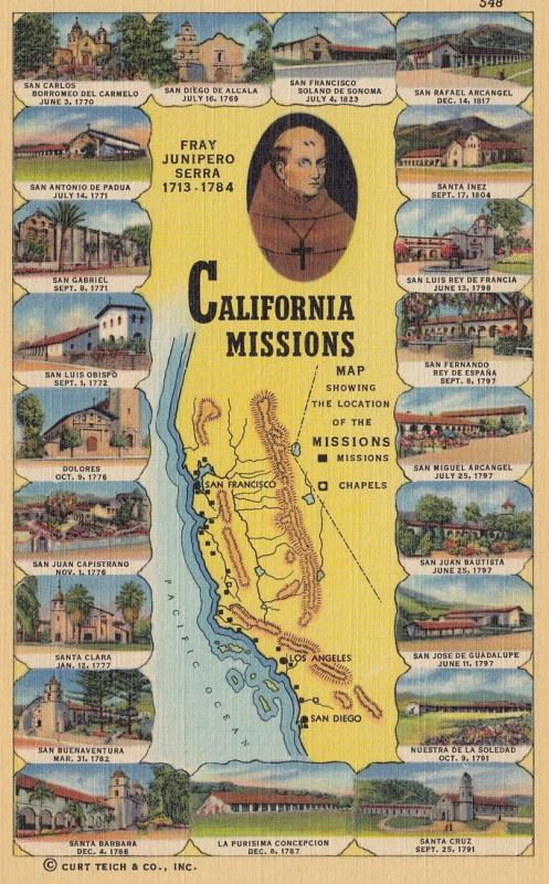 Map; Missions in California , 30-40s