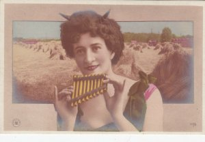 RP: Woman with Horns playing Pan flute , 1904 ; A.G. STEGLITZ Photo