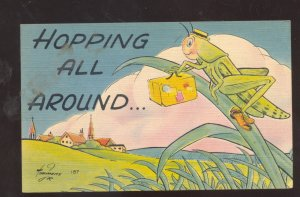 HOPPING ALL AROUND SIGNED TIMMONS GRASHOPPER BUG INSECT COMIC POSTCARD