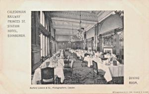 EDINBURGH SCOTLAND UK~CALEDONIAN RAILWAY STATION HOTEL-DINING ROOM POSTCARD