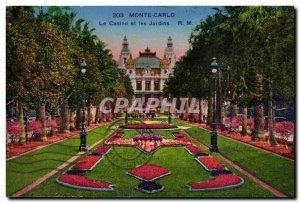Monte Carlo Old Postcard casino and Monaco gardens