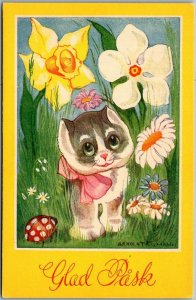 Artist-Signed EASTER Postcard Glad Pask Kitty Cat / Colorful Flowers UNUSED