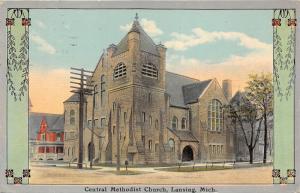 Lansing Michigan~Central Methodist Church~Beautiful Stone Bldg~House Bknd~1911