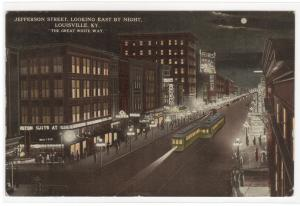Jefferson Street at Night Louisville Kentucky 1913 postcard