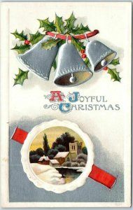 Vintage 1909 JOYFUL CHRISTMAS Embossed Postcard Silver Bells / Winter Scene