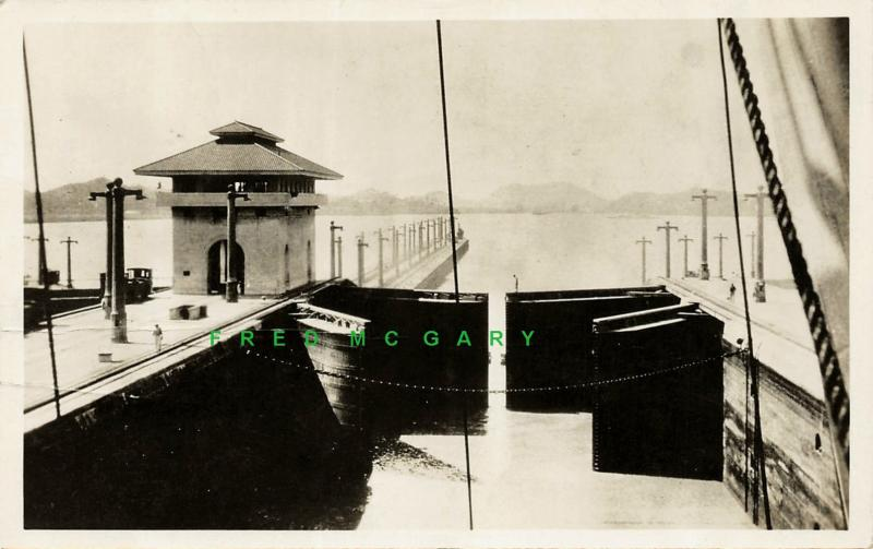 1935 Panama Canal Real Photo PC: Miraflores Locks from Grace Line SS Columbia