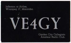 VE4GY, Manitoba Canada, 1966