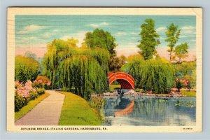 Harrisburg PA-Pennsylvania,Japanese Bridge, Italian Garden, Linen c1940 Postcard