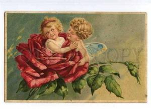 126794 Winged FAIRY Elf in ROSES vintage Embossed Colorful PC