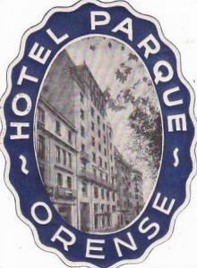 PORTUGAL ORENSE HOTEL PARQUE VINTAGE LUGGAGE LABEL