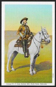 Colonel WF Cody (Buffalo Bill) On Horse North Platte Nebraska Unused c1941