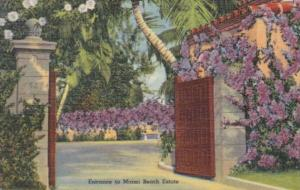 Florida Miami Beach Beautiful Entrance To A MIami Beach Estate 1953