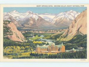 Unused Linen TOWN VIEW SCENE Banff Alberta AB o1054