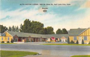Salt Lake City Utah Alta Motor Lodge Antique Postcard J53258