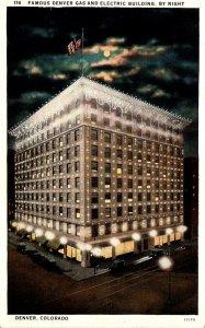 Colorado Denver Famous Denver Gas and Electric Building By Night Curteich