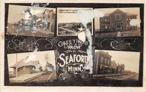 C18/ Seaforth Minnesota Mn Real Photo RPPC Postcard 1909 5View Railroad Depot