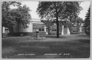 Humboldt Iowa~Art Deco High School~Bird Bath~My Building Where I Teach~1940 RPPC