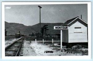 RPPC  MONTOUR, Idaho ID ~ Repro RAILROAD DEPOT ca 1950s-60s Gem County Postcard