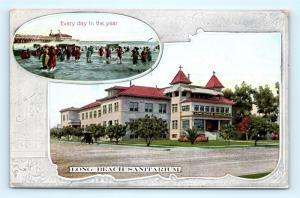 Postcard CA Long Beach c1909 View Long Beach Sanitarium Advertising R64