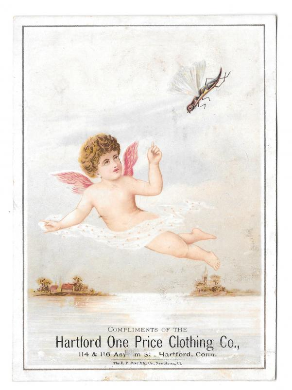 Victorian Trade Card Hartford CT One Price Clothing Flying Insect Cherub Angel