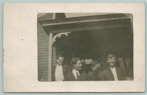 RPPC Charlie Reached to Pull Harold's Ear Just As I Snapped Picture~Porch c1910