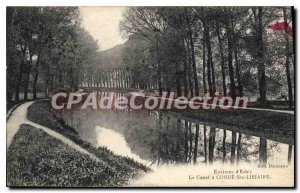 Old Postcard Conde Ste Libiaire Canal around Esbly