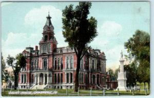 CAMBRIDGE, Illinois  IL    COURT HOUSE  Monument  1910 Henry County Postcard