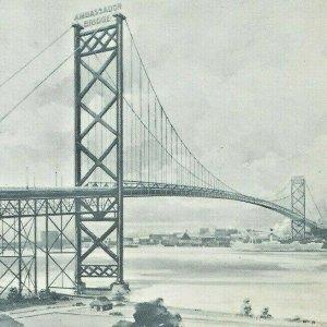 1950s Ambassador Bridge Windsor Ontario Detroit Michigan Steam Ship Boat Lake