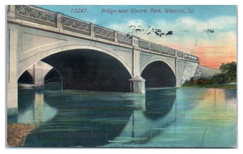 1914 Bridge near Electric Park, Waterloo, IA Postcard