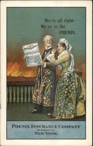 Phenix Insurance Co Brooklyn NY Old Couple Motif c1910 Postcard