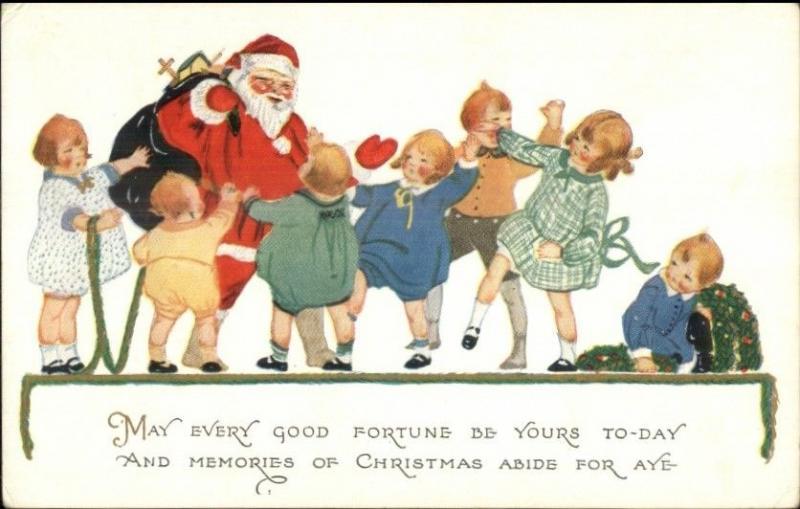 Christmas - Santa Clauus Surrounded by Children Series #53 c1915 Postcard